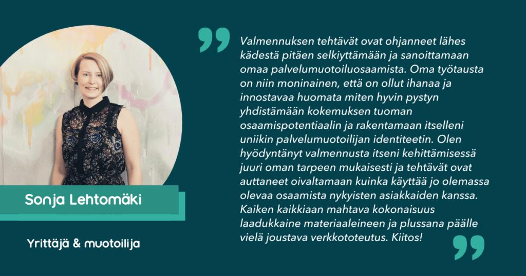 Sonja Lehtomäki osallistu palvelumuotoilijan ALOITTAJA-valmennukseen
